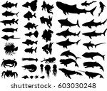 set of sea animals silhouettes. ... | Shutterstock .eps vector #603030248