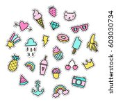 set of bright cute pins. vector ... | Shutterstock .eps vector #603030734