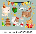 birthday dog | Shutterstock .eps vector #603031088