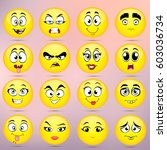 set of emoticons  icon pack ... | Shutterstock .eps vector #603036734