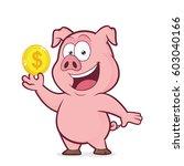 pig holding gold coin | Shutterstock .eps vector #603040166