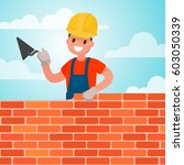 worker builds a wall  brickwork.... | Shutterstock .eps vector #603050339