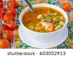vegetable soup with egg | Shutterstock . vector #603052913