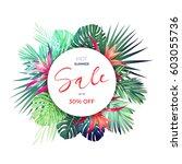 summer vector floral sale... | Shutterstock .eps vector #603055736