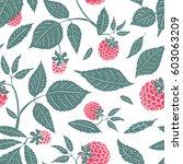 vector raspberry seamless... | Shutterstock .eps vector #603063209