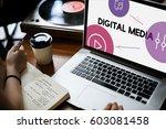 music streaming media... | Shutterstock . vector #603081458