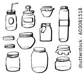 hand drawn contour style jars... | Shutterstock .eps vector #603081518