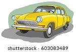 old yellow retro car  vector...   Shutterstock .eps vector #603083489