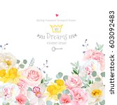 spring hydrangea  rose  peony ... | Shutterstock .eps vector #603092483