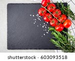 fresh cherry tomatoes with... | Shutterstock . vector #603093518