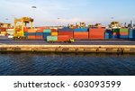 container container ship in... | Shutterstock . vector #603093599