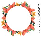 tropical floral wreath ... | Shutterstock . vector #603094520