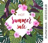 summer tropical sale design... | Shutterstock .eps vector #603101618