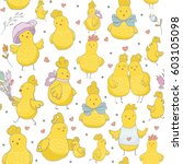 seamless pattern with cute hand ... | Shutterstock .eps vector #603105098