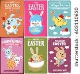 vintage easter egg poster... | Shutterstock .eps vector #603110630