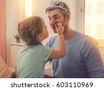 dad with cute daughter beeing... | Shutterstock . vector #603110969