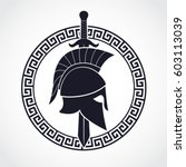 silhouette spartan theme logo... | Shutterstock .eps vector #603113039