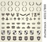 heraldry kit of knight blazons... | Shutterstock .eps vector #603117800