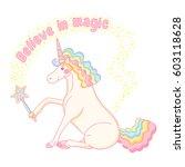 believe in magic. cute vector... | Shutterstock .eps vector #603118628