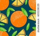 oranges. seamless pattern....   Shutterstock .eps vector #603128120