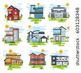 houses illustration vector set | Shutterstock .eps vector #603128348