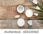 composition with tasty coconut... | Shutterstock . vector #603133463