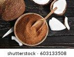 bowl and scoop of brown sugar... | Shutterstock . vector #603133508