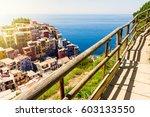 manarola town view in cinque... | Shutterstock . vector #603133550