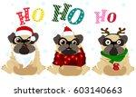 set of cute cartoon pugs in... | Shutterstock .eps vector #603140663