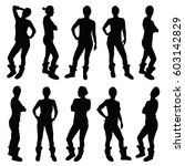 girl figure silhouette in... | Shutterstock .eps vector #603142829