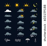 weather icons set flat design | Shutterstock .eps vector #603159188