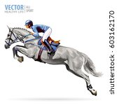 jockey on white horse. champion.... | Shutterstock .eps vector #603162170