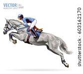 jockey on white horse. champion.... | Shutterstock .eps vector #603162170