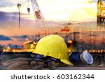 set of safety work wear on ... | Shutterstock . vector #603162344