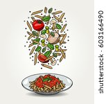 vector pasta penne with tomato... | Shutterstock .eps vector #603166490