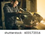 man doing some carpentry work... | Shutterstock . vector #603172016