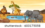african water hole lion ... | Shutterstock .eps vector #603175058