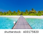 amazing beach scene  long jetty ... | Shutterstock . vector #603175820