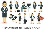 set of businesswoman characters ... | Shutterstock .eps vector #603177734