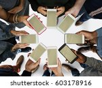 group of people using mobile... | Shutterstock . vector #603178916