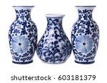 three chinese porcelain vases...   Shutterstock . vector #603181379