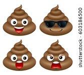 set of cute poop  happy poop ... | Shutterstock .eps vector #603186500