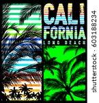 california beach typography tee ... | Shutterstock .eps vector #603188234