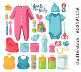 big set baby stuff.  ute set of ... | Shutterstock .eps vector #603191156