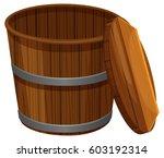 wooden bucket with lid... | Shutterstock .eps vector #603192314