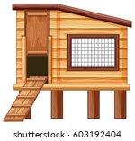 chicken coop made of wood... | Shutterstock .eps vector #603192404