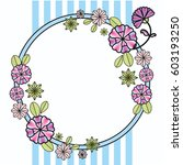 vintage floral circle greeting... | Shutterstock .eps vector #603193250