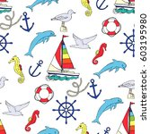 nautical seamless pattern with... | Shutterstock . vector #603195980