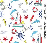 nautical seamless pattern with... | Shutterstock . vector #603196040
