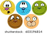 set of colorful animal smiling... | Shutterstock . vector #603196814